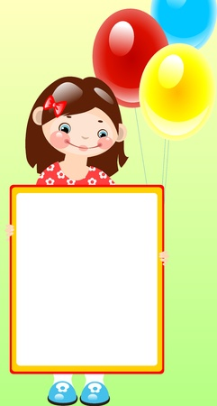 Girl with balloons on green background.place for your text. Vector