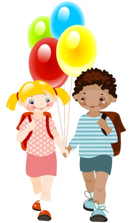 school friends: happy kids with balloons. school childhood. school  friends. similar to the portfolio