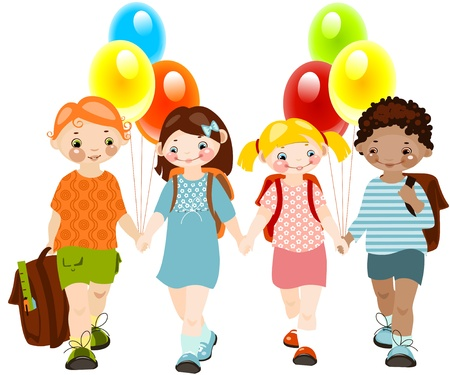 happy kids with balloons. school childhood. school  friends. similar to the portfolio Vector