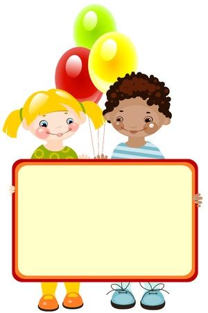 place for children: ni�os felices con globos. colocar el texto. Vectores