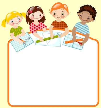 your: happy children with pencils and rulers. place for your text