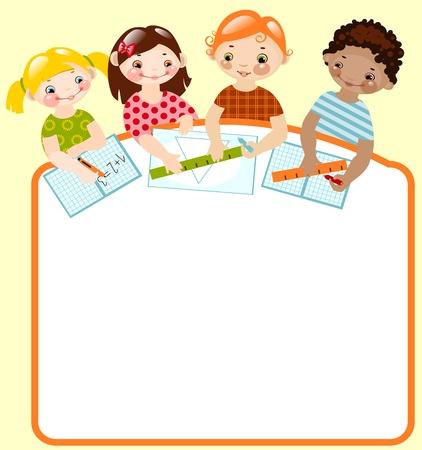 place for children: ni�os felices con l�pices y gobernantes. lugar para el texto