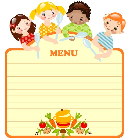 funny kids with spoons.menu. place for your text. Vector