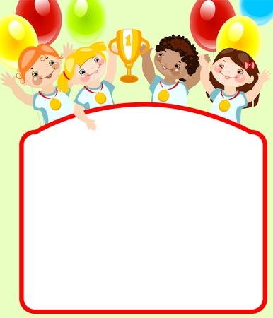 fondo para bebe: Infancia de la escuela. Lugar para el texto. Deportes. similar a la cartera Vectores