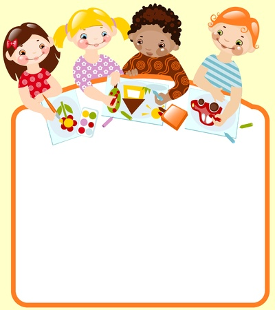 cute kids draw. place for your text. Vector