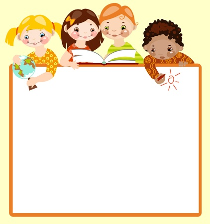 cute kids read and draw on green background. place for your text. Vector