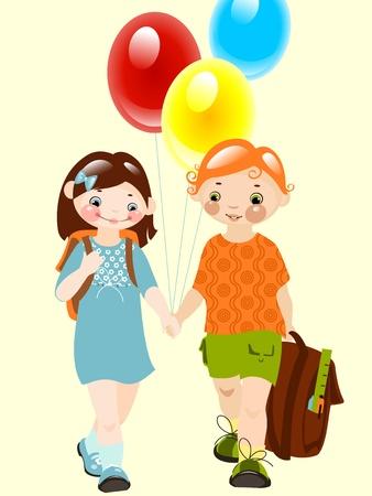 happy kids with balloons. school childhood. school  friends. similar to the portfolio Vector