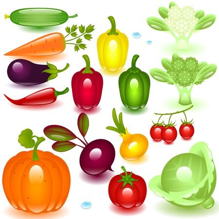 coliflor: vegetales conjunto completo sobre un fondo blanco