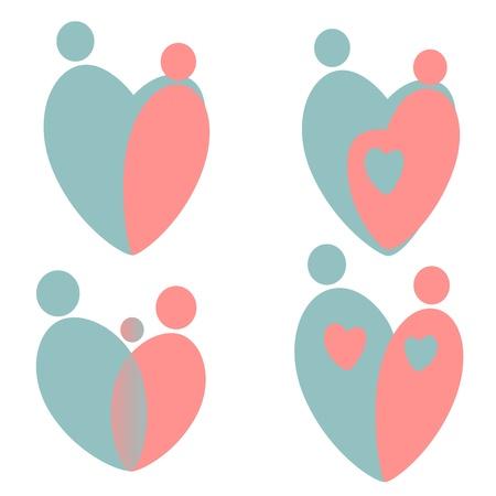ensemble de la silhouette stylisée sur la famille, la mère et l'enfant
