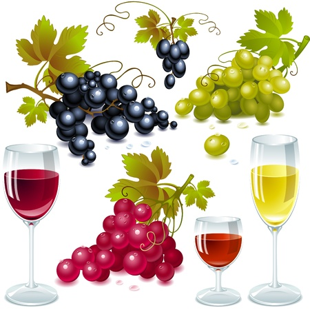uvas: diferentes variedades de uvas con hojas. vaso de vino con vino.