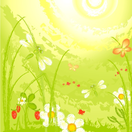 dragonfly on a green meadow on a sunny day Stock Vector - 9567326