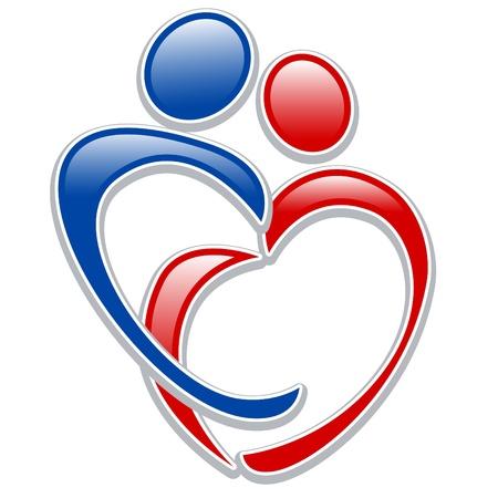 corazones azules: conjunto de silueta estilizada de la familia, la madre y el ni�o 3. Vectores
