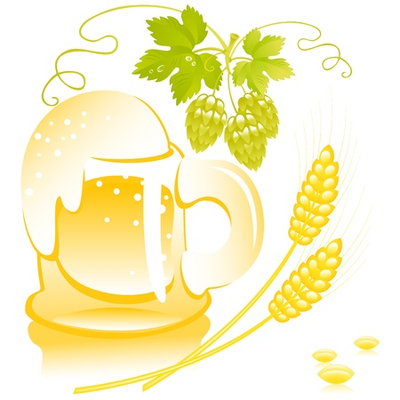 malt: beer of mug  with foam on the background of wheat and hop. Vector. similar to the portfolio