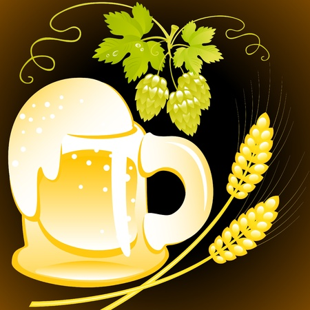 beer of mug  with foam on the black background. Vector. similar in portfolio Stock Vector - 9683608