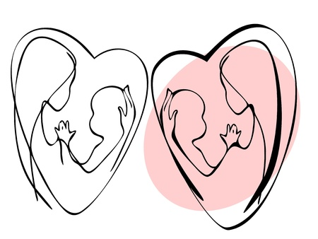 mother and child. Graphic set Vector