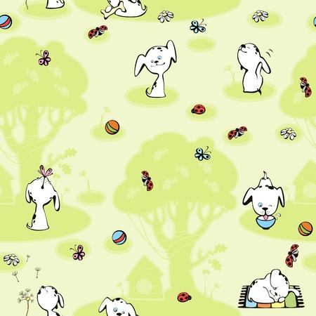 dalmatier: behang Dalmatische pups. groene achtergrond met boom