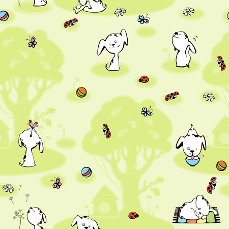 wallpaper Dalmatian puppies. green background with tree Vector