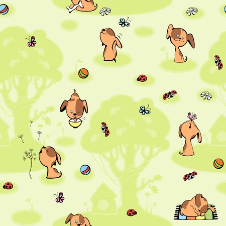 wallpaper with brown puppies. green background with tree Vector
