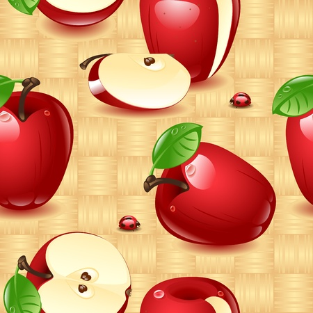a set of red apples, whole and sliced, isolated on a wicker natural wood background. Wallpaper. Stock Vector - 9899739