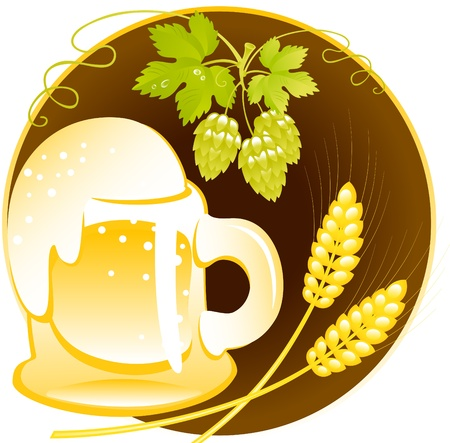 pasteurized: beer of mug  with foam on a black circle. Vector. Illustration