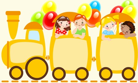 childrens train.schedule. Place for your text on a yellow childrens train Vector