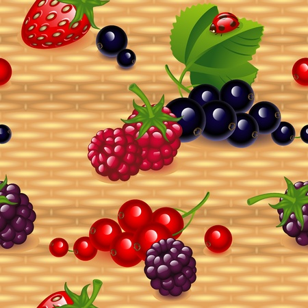 woven label: set of different  berry,  on a wicker natural wood background. Wallpaper.