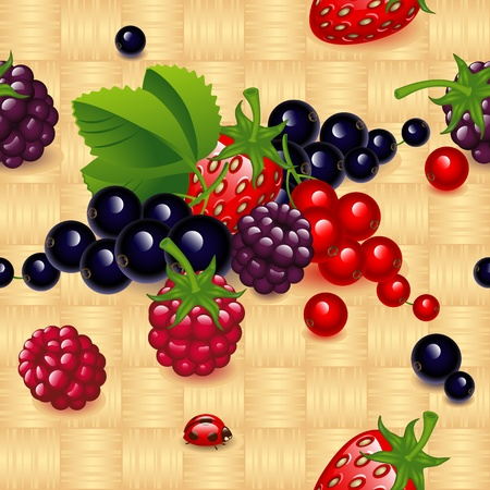 raspberries: set of different  berry,  on a wicker natural wood background. Wallpaper.
