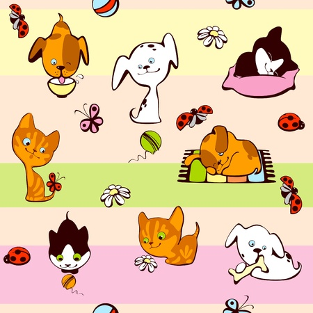 children's wallpaper. pets, cat and dog on a colorful background Stock Vector - 10136234