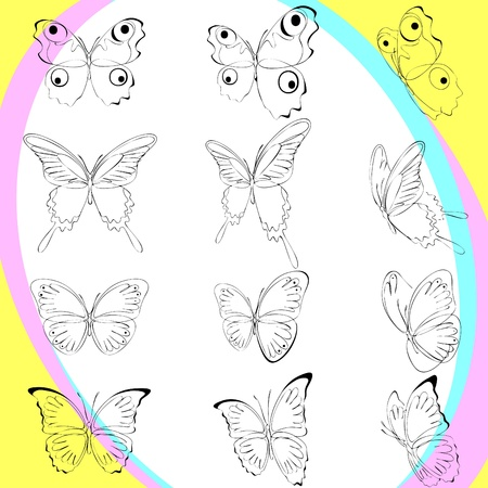 set silhouette butterflies, various types, and options  location. background Vector