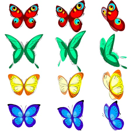 butterflies flying: a set of different butterflies, various types, color options and location