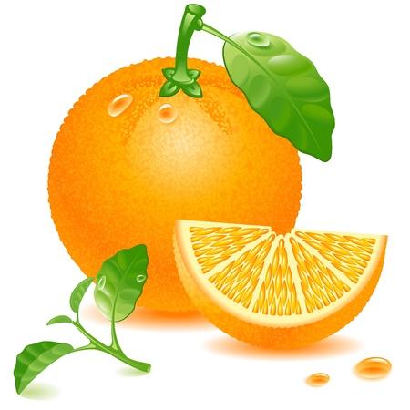 rijp oranje met blad en sappige segment geïsoleerd op witte achtergrond