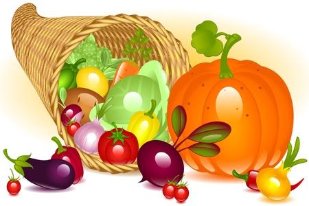 cuerno de la abundancia: Cornucopia con calabaza. Colecci�n de verduras sobre fondo blanco Vectores