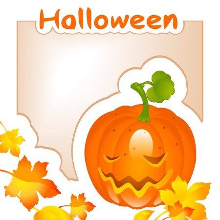 halloween pumpkin with maple leaves and place for text Vector