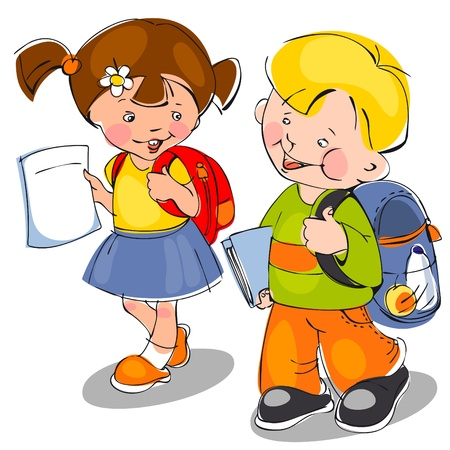 happy children come with backpacks and notebooks to school. banner Vector