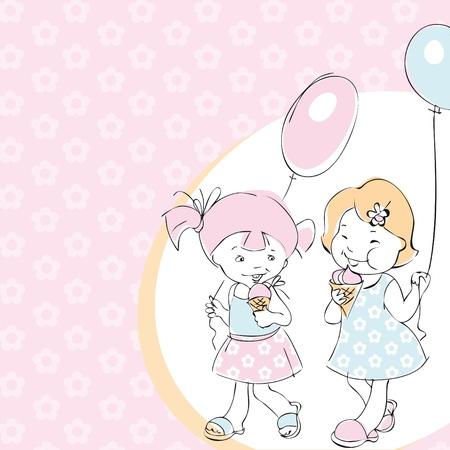 friends eating: happy little girl friends with ice creamand balloons. greeting card for birthday Illustration