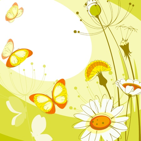 postcard with flowers; daisies, dandelions and butterflies