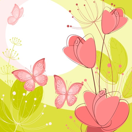 postcard with flowers; roses and butterflies Illustration