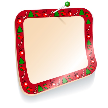 Christmas rectangular sticker with a red border Vector