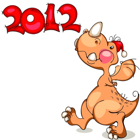 cute dragon on a white background. banner of the new 2012 Vector