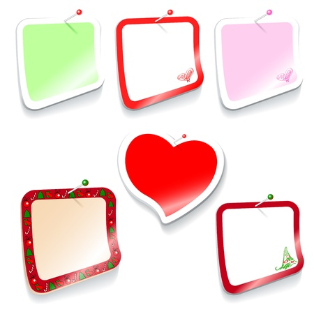 set of colored rectangular stickers, Christmas and heart shaped Vector