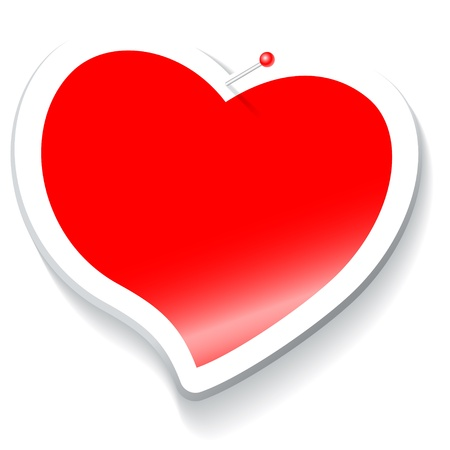 valentin: sticker in the shape of a red heart with a white border