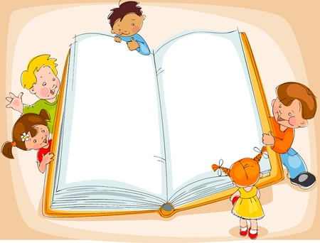 Young children are reading a great book. drawing Banner Vector