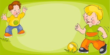 educacion fisica: los ni�os jugar en el f�tbol en un c�sped verde. dibujo de Banner