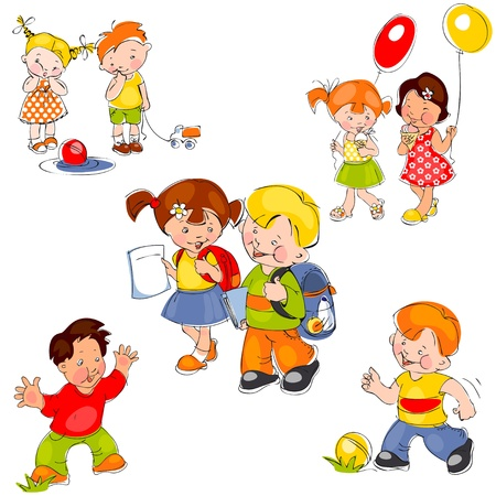 for kids: set of colored painted children. Children in school, children in kindergarten and kids for a walk Illustration