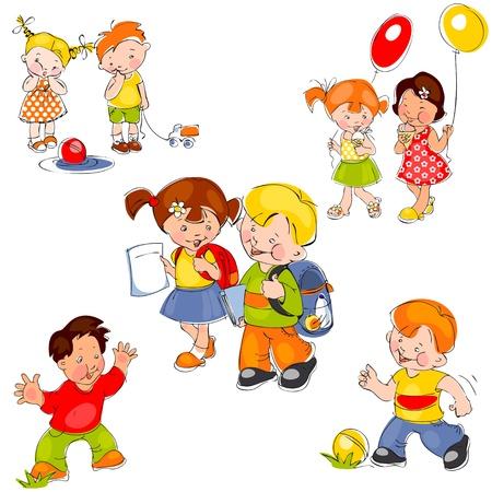 çocuklar: set of colored painted children. Children in school, children in kindergarten and kids for a walk Çizim