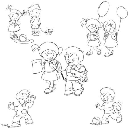 nenes jugando: conjunto de siluetas de blanco y negro, pintados a mano de los ni�os