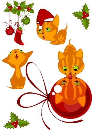 Christmas Collection little red kittens 1 Vector