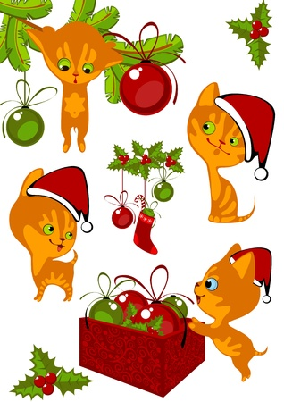 Christmas Collection little red kittens 3 Vector
