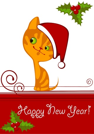 Christmas little orange kitten in a Hat 1 Vector