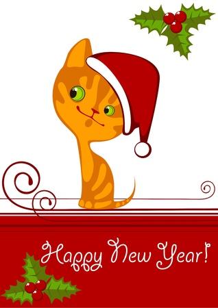 Christmas little orange kitten in a Hat 1 Vector